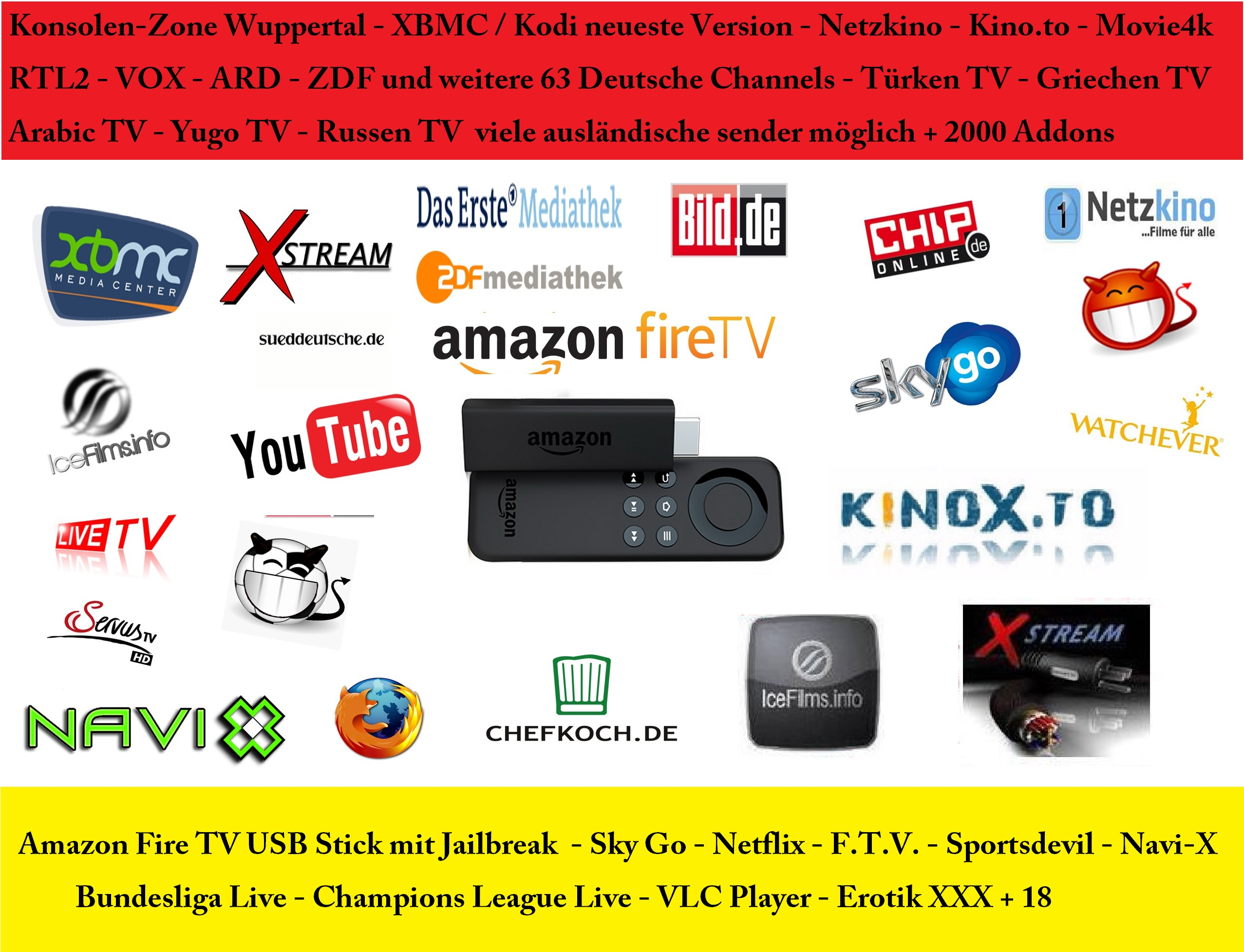 amazon fire tv stick jailbreak kodi14 2 livetv kino filme serien bundesliga ebay. Black Bedroom Furniture Sets. Home Design Ideas